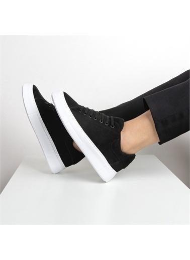 OKHU SHOES Kadın Süet Bağcıklı Günlük Ayakkabı Siyah